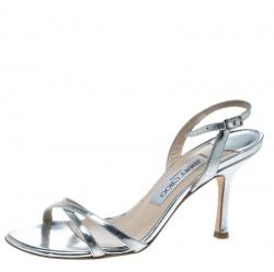 e75b73262cbc Jimmy Choo Metallic Silver Leather India Slingback Sandals Size 36