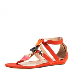 f602d9b6be47 Jimmy Choo Orange Suede Agave Crystal Embellished T Strap Flat Sandals Size  39