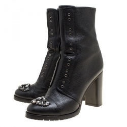 Jimmy Choo Black Leather Crystal Embellished Datchet Ankle Boots Size 41