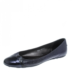 Jimmy Choo Blue Whirl Snake Embossed Leather Cap Toe Ballet Flats Size 36.5