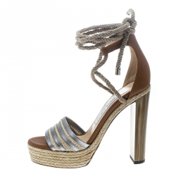 63523cf07759 Jimmy Choo Two Tone Leather Mayje Espadrille Trim Ankle Tie Platform Sandals  Size 36