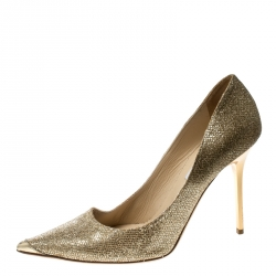 ee3c9d91f60e Jimmy Choo Metallic Gold Lamé Glitter Fabric Abel Pointed Toe Pumps Size  39.5