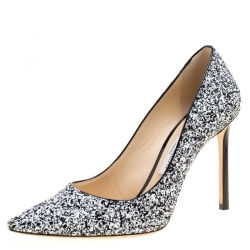 7cd92721b4 Jimmy Choo Monochrome Coarse Glitter Fabric Romy Pointed Toe Pumps Size 38