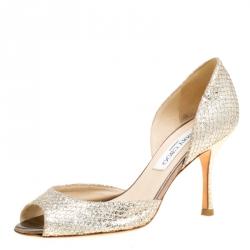 b5cdf1da158c Jimmy Choo Metallic Glitter Champagne Logan D orsay Peep Toe Pumps Size 35