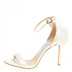 31cbc07b8a75 Jimmy Choo Ivory Satin Kerry Ankle Strap Open Toe Sandals Size 39