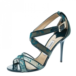 7824d568ee Jimmy Choo Blue Lace and Patent Leather Lottie Strappy Sandals Size 40