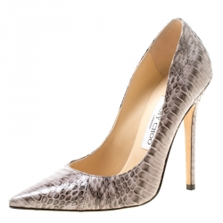 f853e7b2dd57 Jimmy Choo Light Grey Elaphe Leather Anouk Pointed Toe Pumps Size 37