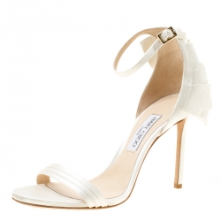 8e0cbca99f40 Jimmy Choo Ivory Satin Kerry Ankle Strap Open Toe Sandals Size 39.5