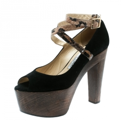 b2bf8a7f3b2 Jimmy Choo Black Suede And Embossed Python Leather Ankle Strap Platform  Pumps Size 38