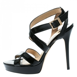 831400f96108 Jimmy Choo Black Patent Leather Vamp Platform Sandals Size 40