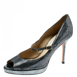 31fa1f2192 Jimmy Choo Silver Glitter Embellished Fabric Mary Jane Peep Toe Pumps Size  39.5