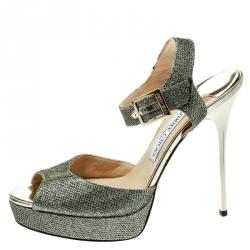 4ae2412833 Jimmy Choo Metallic Gold Lame Fabric Peep Toe Platform Sandals Size 39