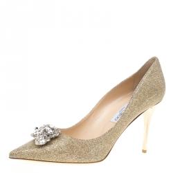 408dd790193b Jimmy Choo Metallic Gold Lamè Glitter Fabric Mamey Crystal Embellished  Pointed Toe Pumps Size 41