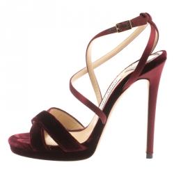 88710f0c3c14 Jimmy Choo Burgundy Velvet And Satin Lola Cross Strap Sandals Size 35