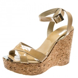 c81c0f23af24 Jimmy Choo Beige Patent Leather Papyrus Cork Wedge Ankle Strap Sandals Size  38