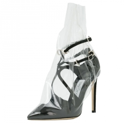a4f396249d Jimmy Choo X Off-White Black Satin And TPU Claire Pointed Toe Pumps Size 40