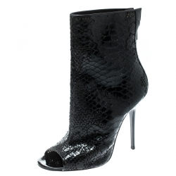 80f0244420 Jimmy Choo Black Snake Embossed Skin Fantasy Peep Toe Ankle Boots Size 38.5