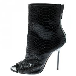 86aabddb39a76 حذاء بوت كاحل جيمي تشو مقدمة مفتوحة فانتاسي جل نقش ثعبان أسود مقاس 38.5