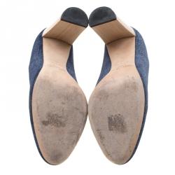Jimmy Choo Blue Denim Laria Block Heels Pumps Size 40
