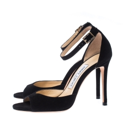 Jimmy Choo Black Suede Annie Ankle Strap Sandals Size 35