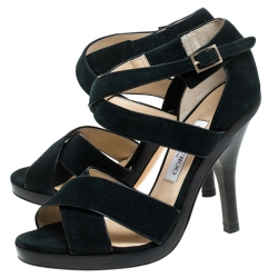 Jimmy Choo Green Suede Leather Vamp Strappy Sandals Size 39.5