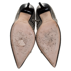Jimmy Choo Black Suede Anouk Studded Pointed Toe Pumps Size 39.5