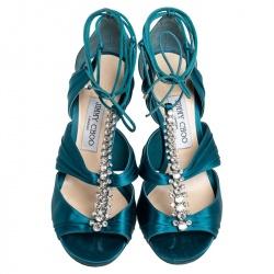 Jimmy Choo Teal Blue Satin Kenny Embellished Ankle Wrap Sandals Size 39