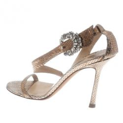 Jimmy Choo Gold Metallic Jeweled Buckle Sandals Size 36.5