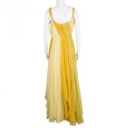John Galliano Yellow Draped Silk Sleeveless Maxi Dress L