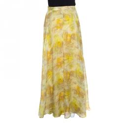 John Galliano Yellow Abstract Printed Silk Maxi A Line Skirt S