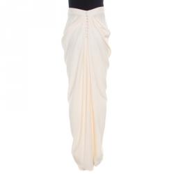 John Galliano Cream Draped Crepe Maxi High Low Skirt L