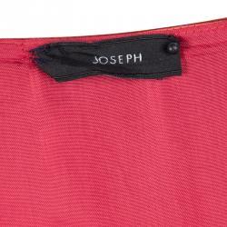 Joseph Red Silk Satin Ruffle Detail Sleeveless Bamako Dress L
