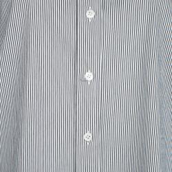 Joseph Monochrome Emile Striped Cotton Long Sleeve Button Front Shirt L