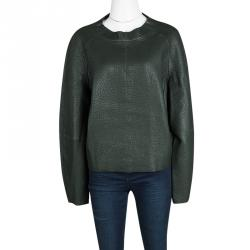 Joseph Forest Green Lambskin Bubble Leather Cropped Pullover M