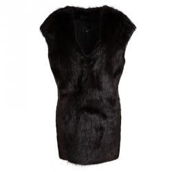 Joseph Burgundy Castor Fur Long Gigi Jacket L
