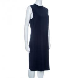 Joseph Navy Blue Sammy Fluide Crepe Sleeveless Dress L