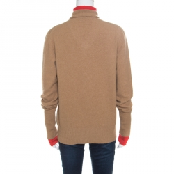 Jospeh Camel Brown and Red Faux Layered V+High Neck Wool Blend Sweater M