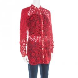 Joseph Red Floral Lace Mandarin Collar Long Sleeve Ida Shirt M