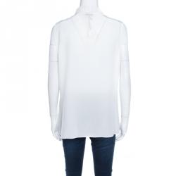 Joseph Off White Silk Cowl Neck Sleeveless Milton Blouse M