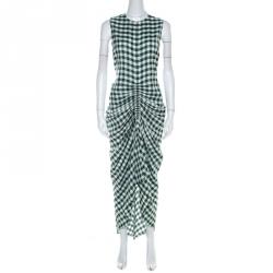 Joseph Green & White Gingham Ruched Detail Asymmetric Dress M