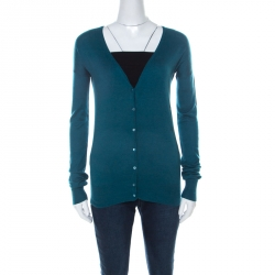Joseph Teal Blue Silk Blend Knit Button Front Cardigan S