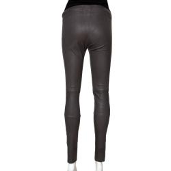 Joseph Grey Stretch Leather New Leggings S