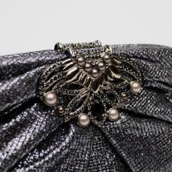Judith Leiber Lina Metallic Tweed Crystal Clutch