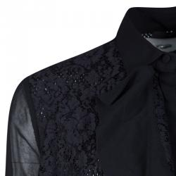Just Cavalli Black Lace Panel Detail Long Sleeve Tricot Mesh Blouse S