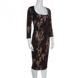 6c15d1e49b Just Cavalli Brown Animal Print Long Sleeve Dress M