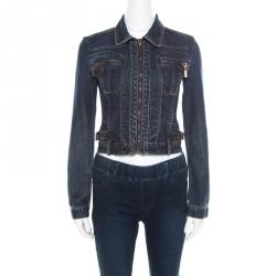 Just Cavalli Indigo Dark Wash Faded Effect Denim Cropped Zip Front Jacket XS