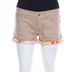 d7ba44c94608c Just Cavalli Beige Stretch Cotton Contrast Cuff Detail Mini Shorts S