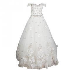c85e581e5da Justin Alexander Signature White Off Shoulder Floral Embroidered  Embellished Tulle Wedding Gown M