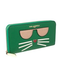 Karl Lagerfeld Green Leather Choupette Zip Around Wallet
