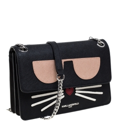 Karl Lagerfeld Black Leather Maybelle Chain Shoulder Bag